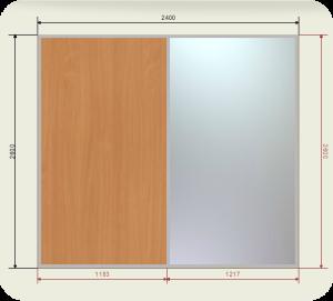Цены на шкаф купе 2400 мм двери 1 ЛДСП + 1 Зеркало