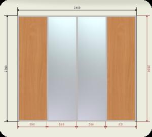 Цены на шкаф купе 2400 мм двери 2 ЛДСП + 2 Зеркала