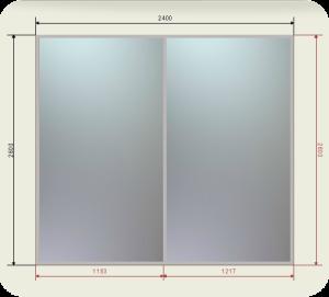 Цены на шкаф купе 2400 мм двери 2 зеркала графит или бронза
