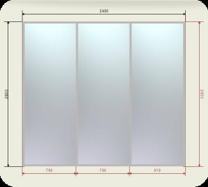 Цены на шкаф купе 2400 мм двери 3 Зеркала