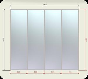 Цены на шкаф купе 2400 мм двери 4 Зеркала