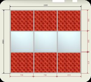 Цены на шкаф купе 2400 мм двери кожа + Зеркало (3 двери)