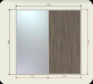Цены на встроенный шкаф купе шириной 2100 мм двери 1 зеркало + 1 ЛДСП