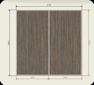 Цены на встроенный шкаф купе шириной 2100 мм двери 2 ЛДСП