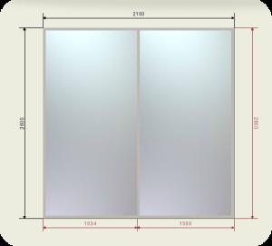 Цены на встроенный шкаф купе шириной 2100 мм двери 2 зеркала