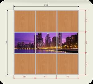 Цены на встроенный шкаф купе шириной 2100 мм двери ЛДСП + фотопечать