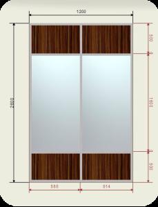 встроенный шкаф купе шириной 1200 мм двери купе зеркало + ЛДСП
