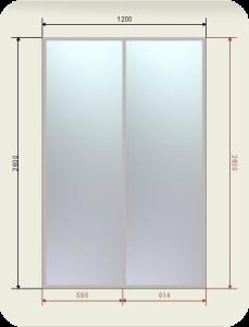 встроенный шкаф купе шириной 1200 мм двери купе зеркало