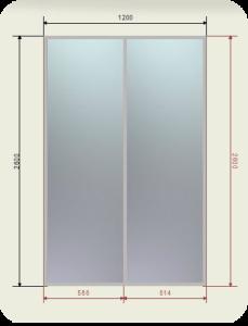 встроенный шкаф купе шириной 1200 мм двери купе зеркало графит или бронза