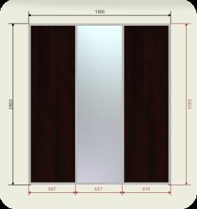 встроенный шкаф купе шириной 1800 мм двери зеркало + 2 ЛДСП